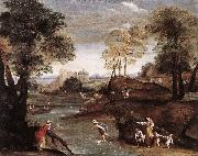 Domenichino Landscape with Ford dg oil painting on canvas