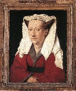 EYCK, Jan van Portrait of Margareta van Eyck sdf oil painting artist