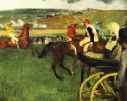 The Race Track Amateur Jockeys near a Carriage, Edgar Degas