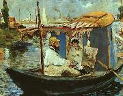 Claude Monet Working on his Boat in Argenteuil, Edouard Manet