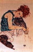 Egon Schiele Seated Woman with Bent Knee oil painting artist