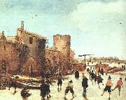 Esaias Van de Velde Skaters on the Moat by the Walls oil painting