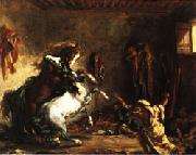 Eugene Delacroix Arabian Horses Fighting in a Stable oil painting picture wholesale