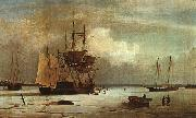 Fitz Hugh Lane Ships Stuck in Ice off Ten Pound Island, Gloucester oil painting on canvas