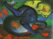 Franz Marc Two Cats, Blue and Yellow oil painting reproduction