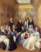 Franz Xaver Winterhalter Queen Victoria and Prince Albert with the Family of King Louis Philippe at the Chateau D'Eu oil painting reproduction