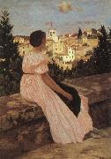 Frederic Bazille The Pink Dress oil painting
