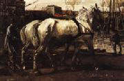 George-Hendrik Breitner Two White Horses Pulling Posts in Amsterdam oil painting reproduction