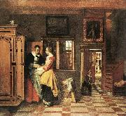 HOOCH, Pieter de At the Linen Closet g oil painting on canvas