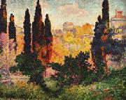 Henri Edmond Cross Cypress Trees at Cagnes oil painting reproduction