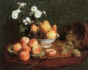 Flowers and Fruit on a Table
