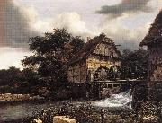 Jacob van Ruisdael Two Water Mills an Open Sluice oil painting reproduction