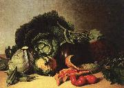 James Peale Still Life Balsam Apple and Vegetables oil painting