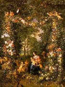 Jan Brueghel Holy Family in a Flower Fruit Wreath oil painting artist