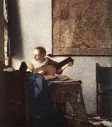 Woman with a Lute near Window