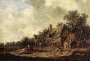 Jan van Goyen Peasant Huts with Sweep Well oil painting