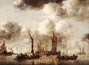 Jan van de Capelle Dutch Yacht Firing a Salvo oil painting reproduction