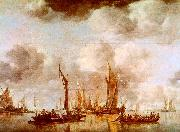 Jan van de Cappelle A Dutch Yacht and Many Small Vessels at Anchor USA oil painting reproduction