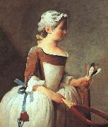 Jean Baptiste Simeon Chardin Girl with Racket and Shuttlecock oil painting