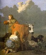 Woman Milking a Red Cow