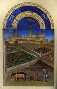 Les trs riches heures du Duc de Berry: Mars (March) wf, LIMBOURG brothers