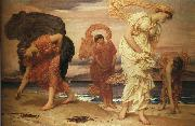 Lord Frederic Leighton Greek Girls Picking Up Pebbles by the Sea oil painting reproduction