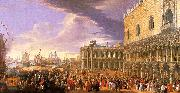 Luca Carlevaris Entry of the Earl of Manchester into the Doge's Palace USA oil painting reproduction