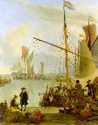 Ludolf Backhuysen The Y at Amsterdam viewed from Mussel Pier USA oil painting reproduction