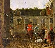 Ludolf de Jongh Hunting Party in the Courtyard of a Country House oil painting reproduction