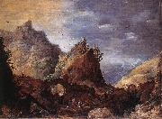 MOMPER, Joos de Mountain Scene with Bridges gs oil painting artist