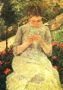 Mary Cassatt Girl Sewing oil painting reproduction