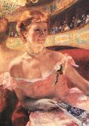Mary Cassatt Lydia in a Loge Wearing a Pearl Necklace oil painting reproduction