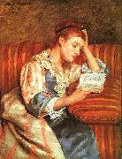 Mrs Duffee Seated on a Striped Sofa, Reading