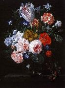 Nicolaes Van Verendael A Tulip, Carnations and Morning Glory in a Glass Vase USA oil painting reproduction