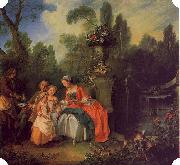 Nicolas Lancret A Lady and Gentleman with Two Girls in a Garden oil painting