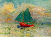 Red Boat with a Blue Sail, Odilon Redon