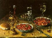 Osias Beert Still Life with Cherries Strawberries in China Bowls USA oil painting reproduction