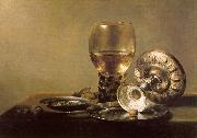 Pieter Claesz Still Life with Wine Glass and Silver Bowl USA oil painting reproduction