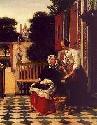 Woman and a Maid with a Pail in a Courtyard