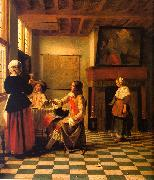 Woman Drinking with Two Men and a Maidservant