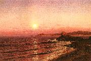 Raymond D Yelland Moonrise Over Seacoast at Pacific Grove oil painting