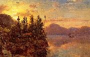 Regis-Francois Gignoux  Lake George at Sunset 1862 oil painting