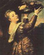 Girl with a Basket of Fruits (Lavinia) r, TIZIANO Vecellio