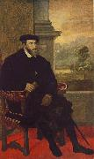 Portrait of Charles V Seated  r, TIZIANO Vecellio
