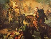 Theodore Chasseriau Arab Chiefs Challenging to Combat under a City Ramparts oil painting