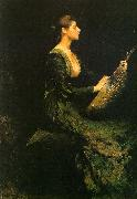 Thomas Wilmer Dewing Lady with a Lute oil painting