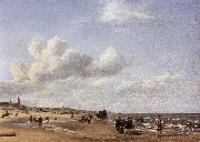 VELDE, Adriaen van de The Beach at Scheveningen wr oil painting