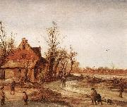 VELDE, Esaias van de Winter Landscape rt oil painting