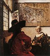 Officer with a Laughing Girl ar, VERMEER VAN DELFT, Jan