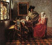 A Lady Drinking and a Gentleman wr, VERMEER VAN DELFT, Jan